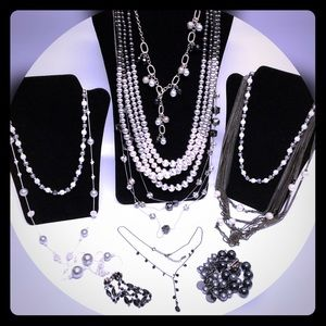 Silver gunmetal signed necklaces